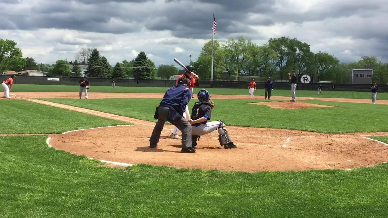 Trey Stoffer hits the ball, Tornadoes commit a fielding error to push a run across the plate.