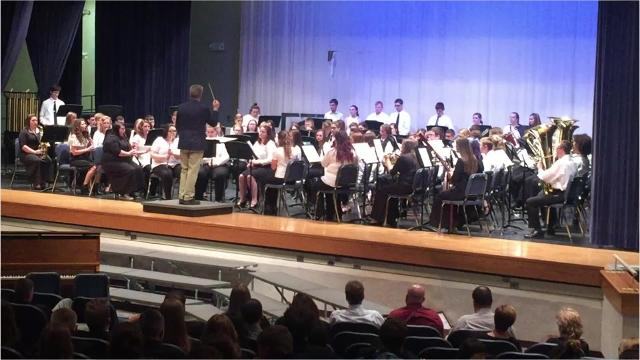 """The Marion County Honors Band performs John Phillip Sousa's """"The Thunderer"""" during the 2017 Harry Alexander Music Festival, held Tuesday, May 2 at River Valley High School. A total of 204 high school musicians and vocalists performed in the concert."""
