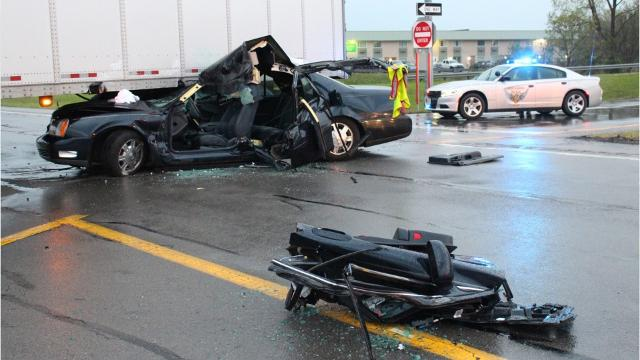 Car smashes into semi on U S  30 eastbound