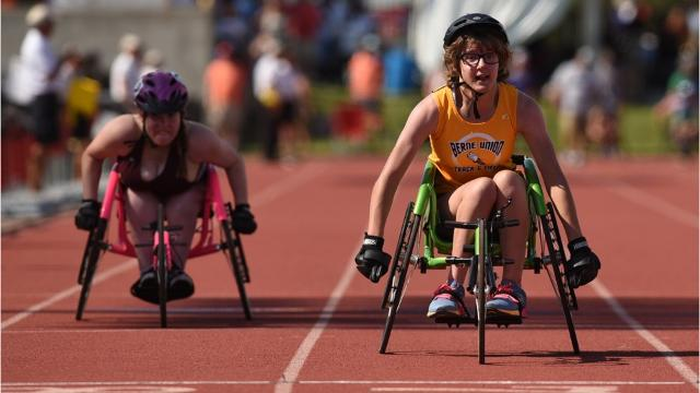Berne Union freshman Abi George is member of the school's girls track team. She's the first Rocket to compete in the Ohio High School Athletic Association's seated division in track and field.