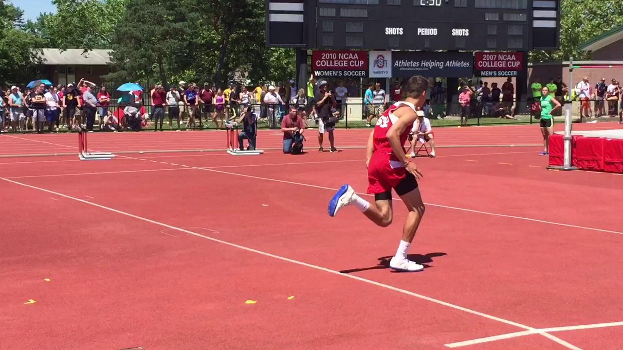 Tim Trawick claims the Division III High Jump State Championship after clearing this jump.