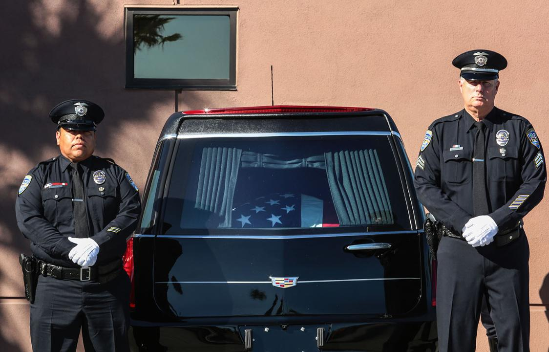 Fallen Palm Springs Officer Jose Vega's casket arrives for memorial