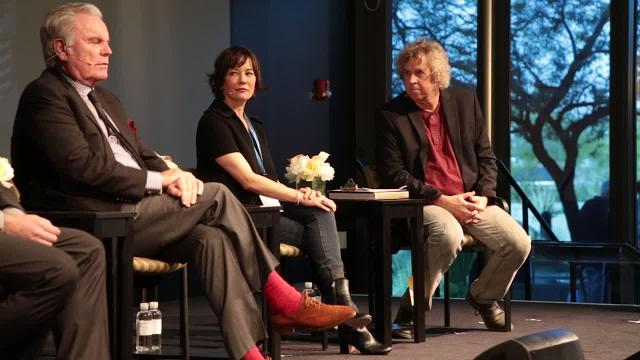 Robert Wagner, Natasha Gregson Wagner and Manoah Bowman are introduced by Desert Sun reporter Bruce Fessier for a panel discussion at the 2017 Rancho Mirage Writers Festival.