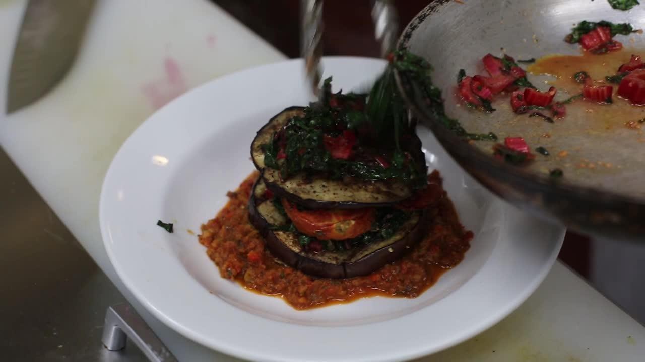 Making the Eggplant Napoleon from Evzin Mediterranean Restaurant
