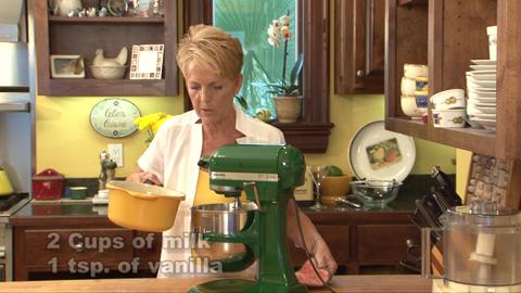 Celia Casey walks through steps in the making of Peach Ice Cream