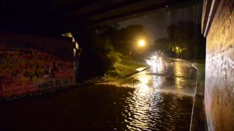 The 17th Avenue train trestle, also known as Grafitti Bridge, has flooded out and motorists are having to reroute to get to Main Street. Piedmont Road, which was heavily damaged during April's floods, has inches of standing water covering it.