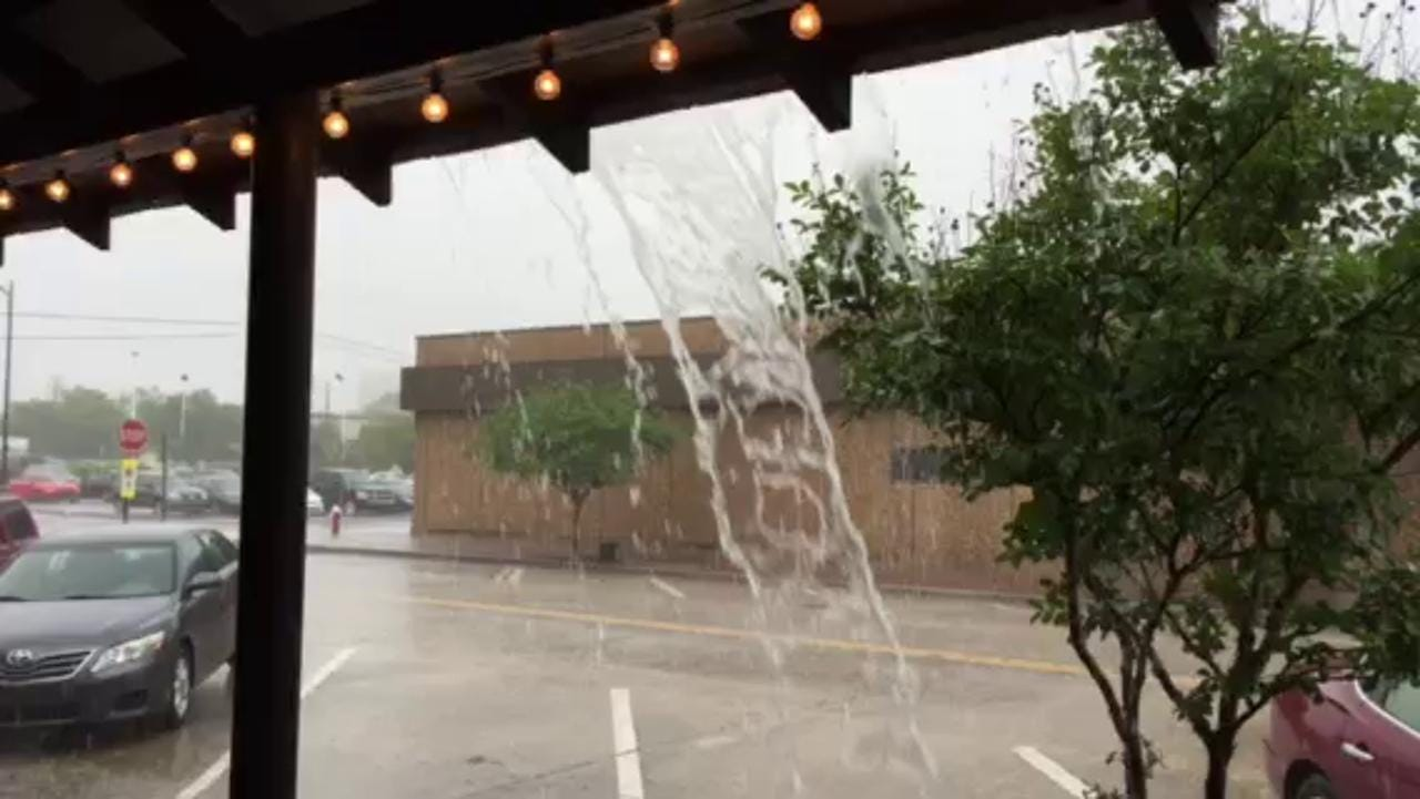Heavy rain in downtown Pensacola