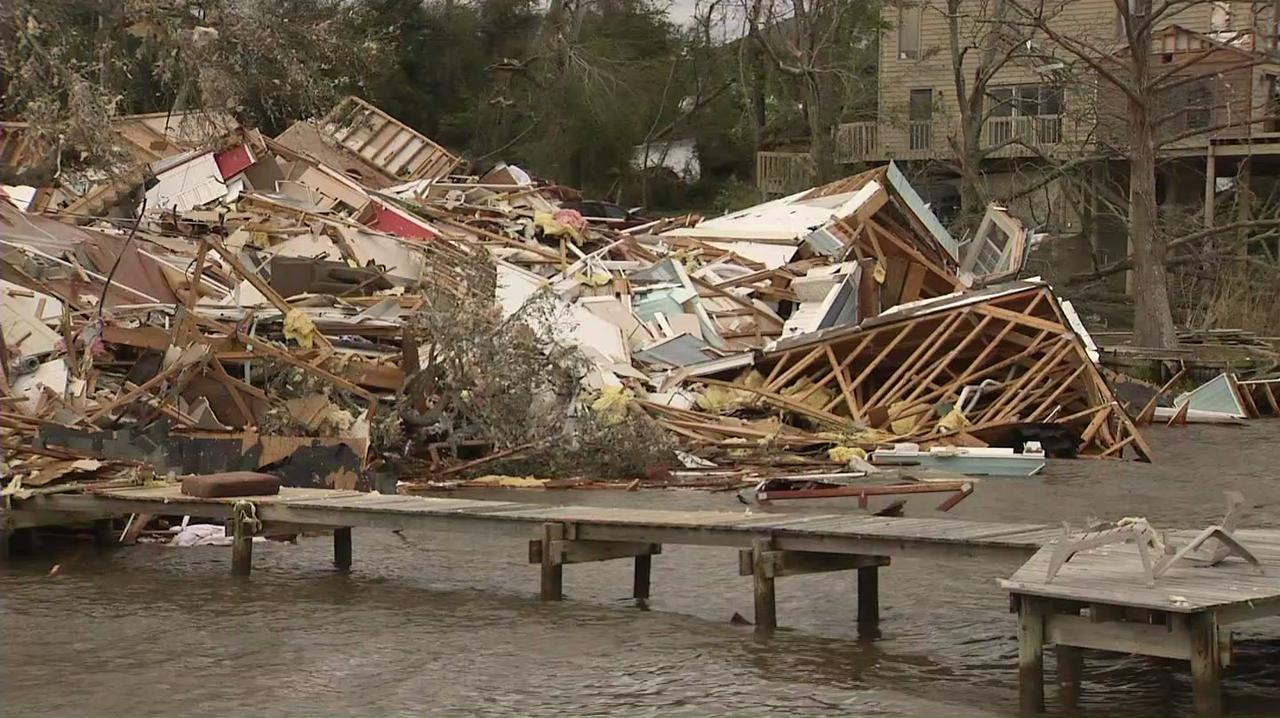 One row of townhomes in Grand Baroque were destroyed in Tuesday night's tornado.