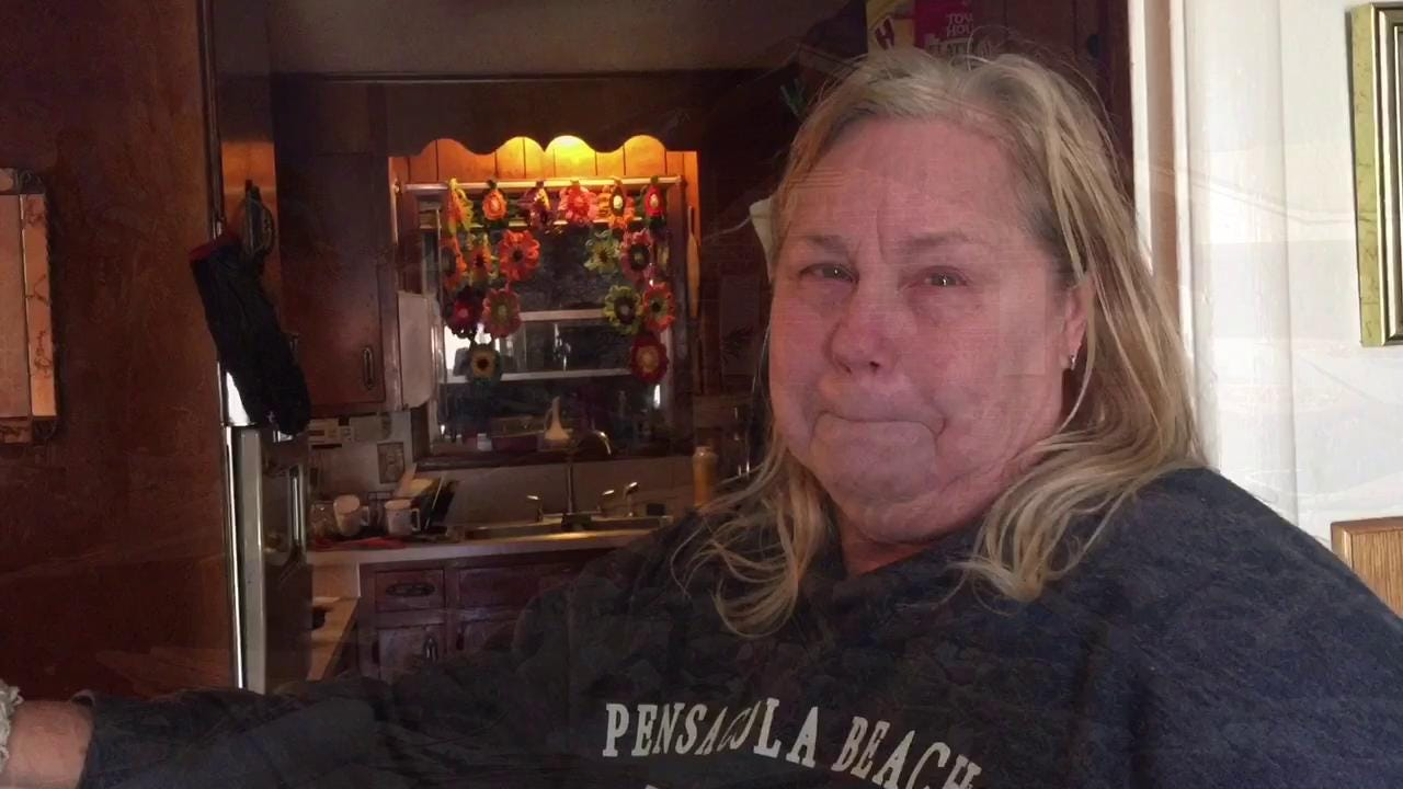 Sherry Shook-Holbern and her husband, Bryan Holbern, survived a tornado at their home on McAdam Court in Pensacola. Their home suffered serious damage, and they don't know what to do next since they do not have insurance.