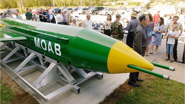 """On April 13, 2017,  the United States dropped the GBU-43/B Massive Ordnance Air Blast Bomb on an Islamic State tunnel complex in Afghanistan. The bomb, often refered to as """"The Mother of All Bombs"""" was built at Eglin Air Force Base."""