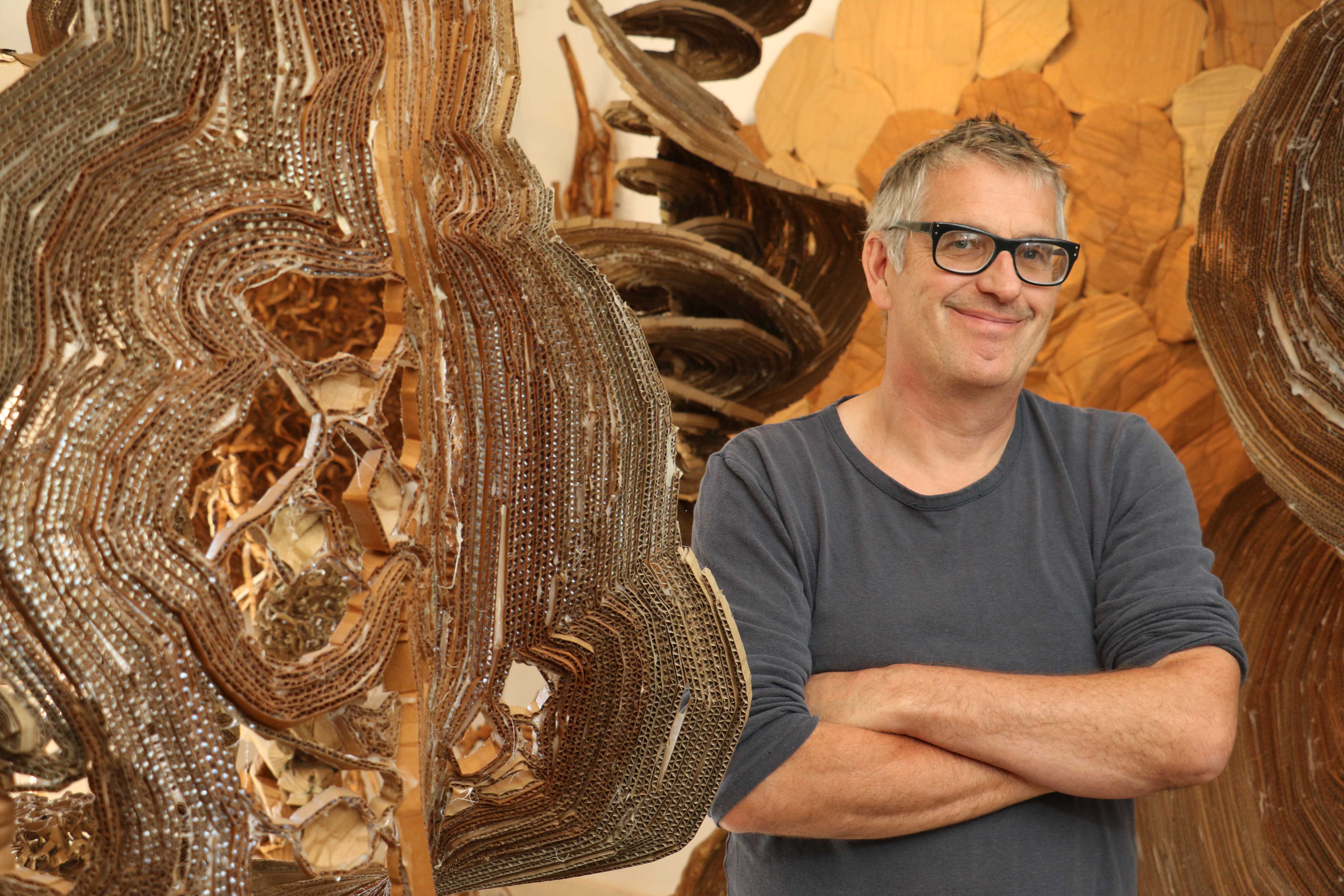 Henry Klimowicz is a Millerton, NY artist who has been creating art with corrugated cardboard for over twenty years. He reflects on his choice of medium.