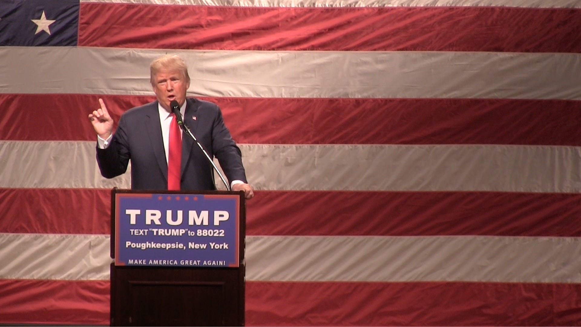 Donald Trump speaks at the Mid-Hudson Civic Center in Poughkeepsie