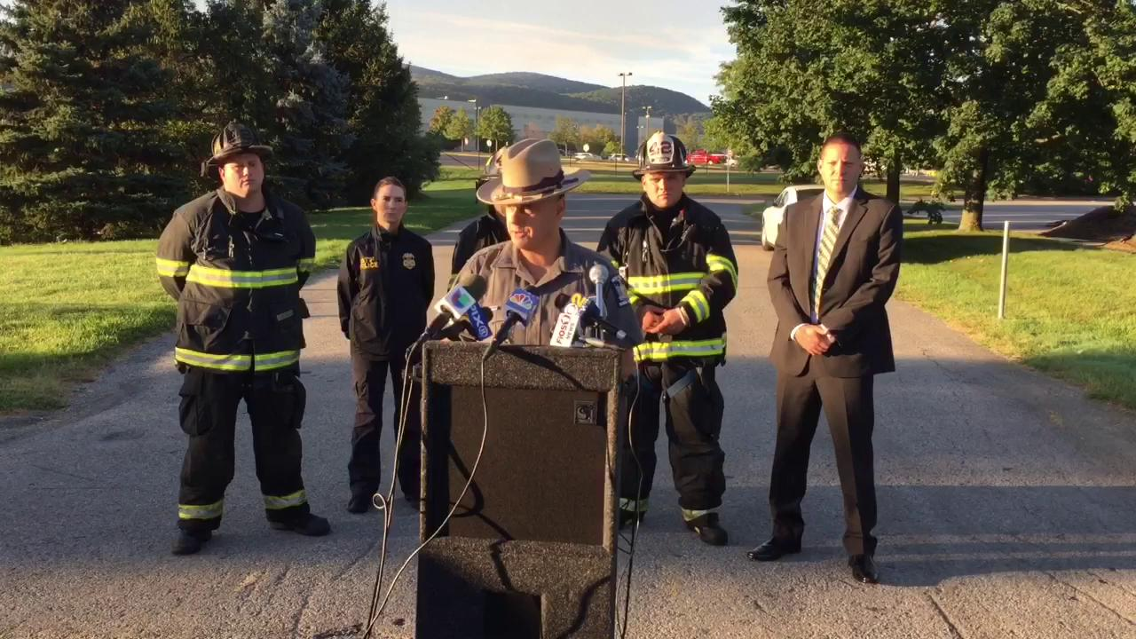 Officials gave details about the fire at the gap distribution center in fish kill Tuesday morning.