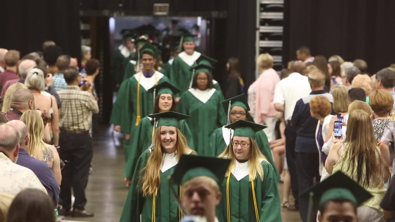The Spackenkill High School class of 2017 march into Mid Hudson Civic Center for the start of their commencement ceremony June 24, 2017. Frank Becerra Jr./Poughkeepsie Journal