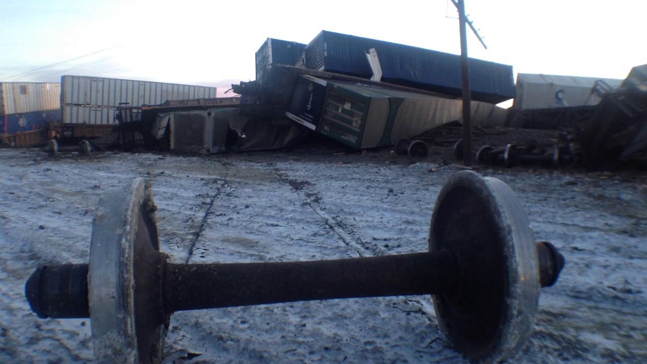 Watch the scene of a train wreckage near Lovelock