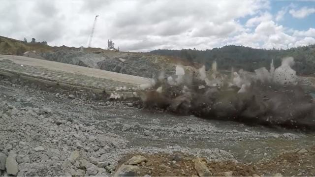 Crews are literally blowing up the damaged Oroville Dam spillway