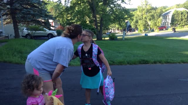First grader's first day of school in Victor