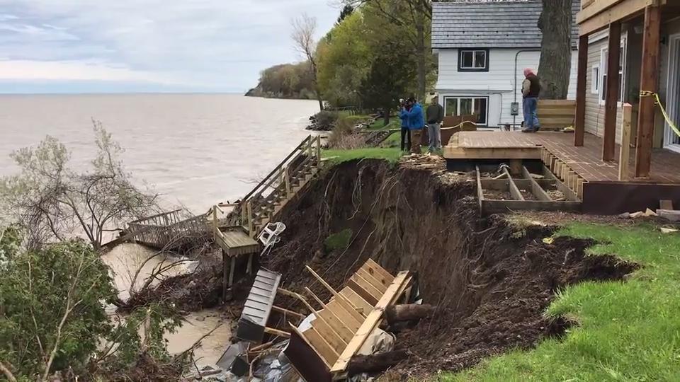 WATCH: Erosion eats away lakeshore properties