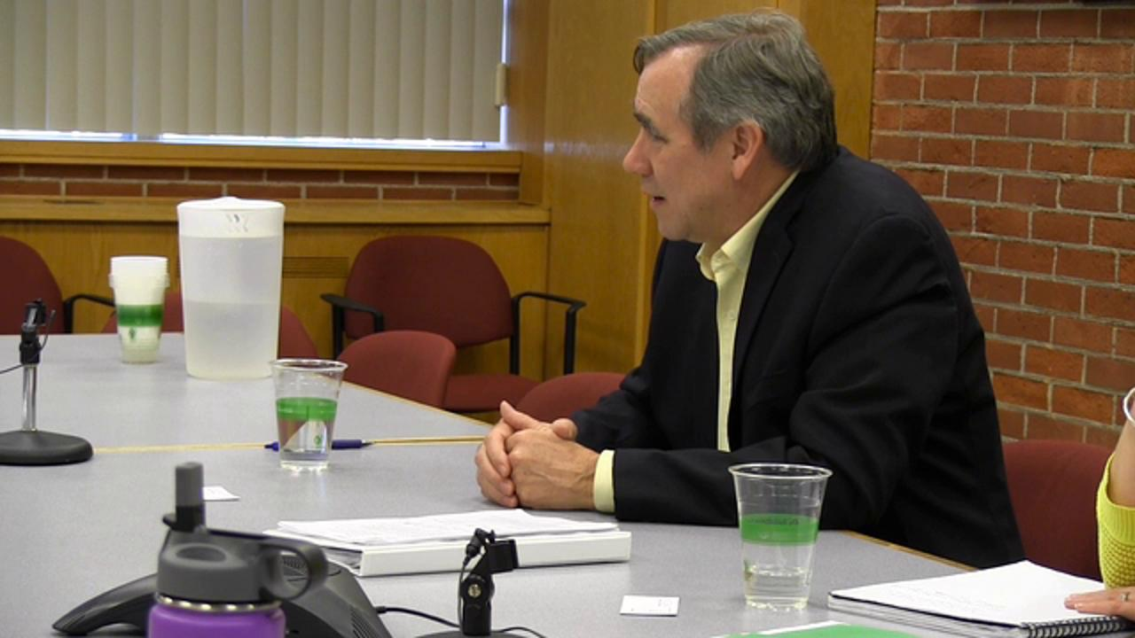 Sen. Jeff Merkley meets with the Statesman Journal editorial board in downtown Salem on Wednesday, March 30, 2016.