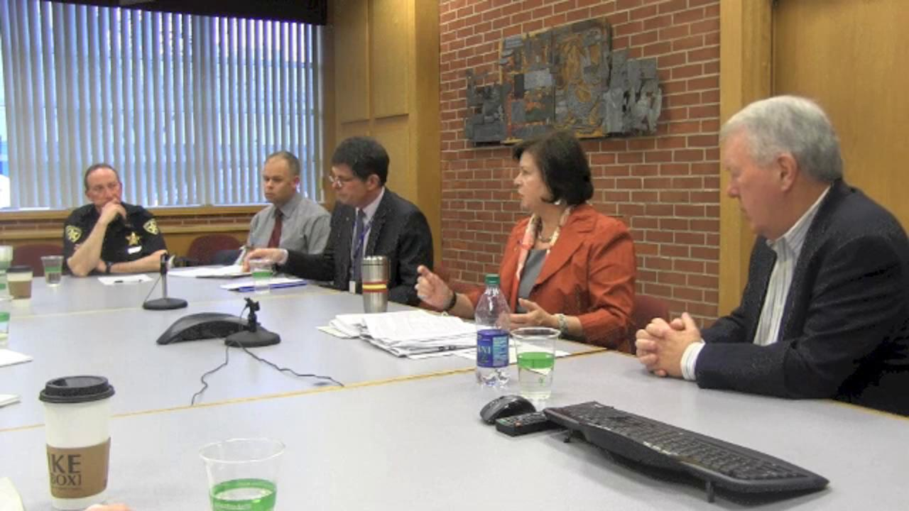 Mayor Anna Peterson, Council President Steve McCoid, City Manager Steve Powers, Police Chief Jerry Moore and Allen Dannen, assistant city engineer discuss a new Salem police facility on March 2, 2016.