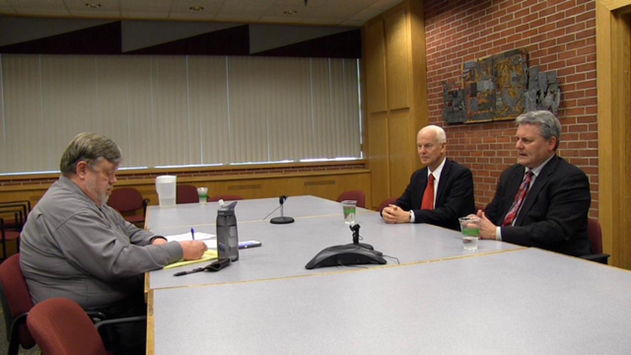 Republican secretary of state candidates Dennis Richardson, center, and Sid Leiken, right, meet with the Statesman Journal Editorial Board on Friday, April 22, 2016.