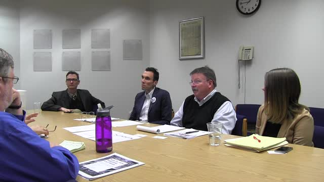 The Statesman Journal Editorial Board meets with members of Yes on 97 at the Statesman Journal on Friday, Sept. 30, 2016.