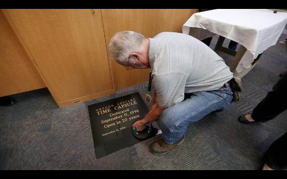 A time capsule sealed in 1996 was opened at the Oregon Lottery headquarters on Monday.