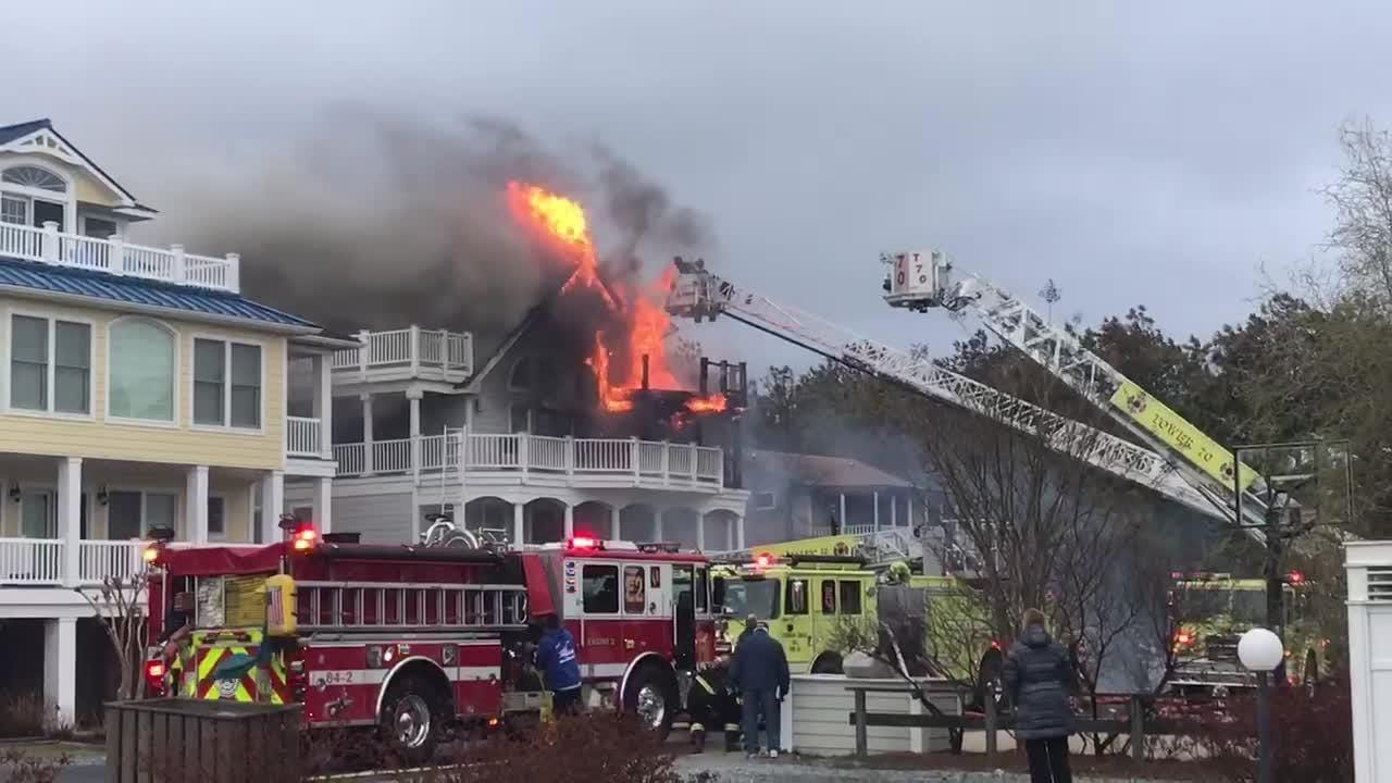 Raw: Firefighters battle flames near Bethany Beach house