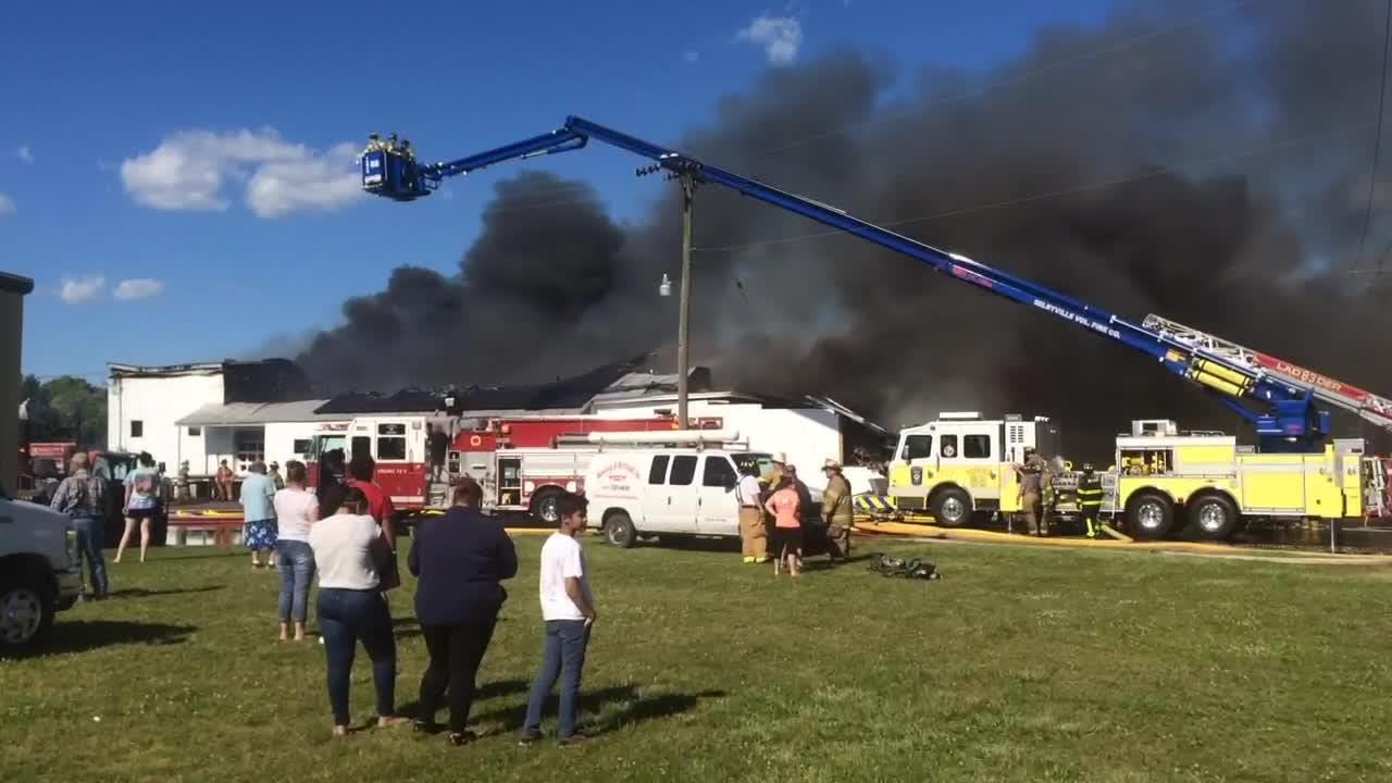 Watch: Fire engulfs chicken supply warehouse