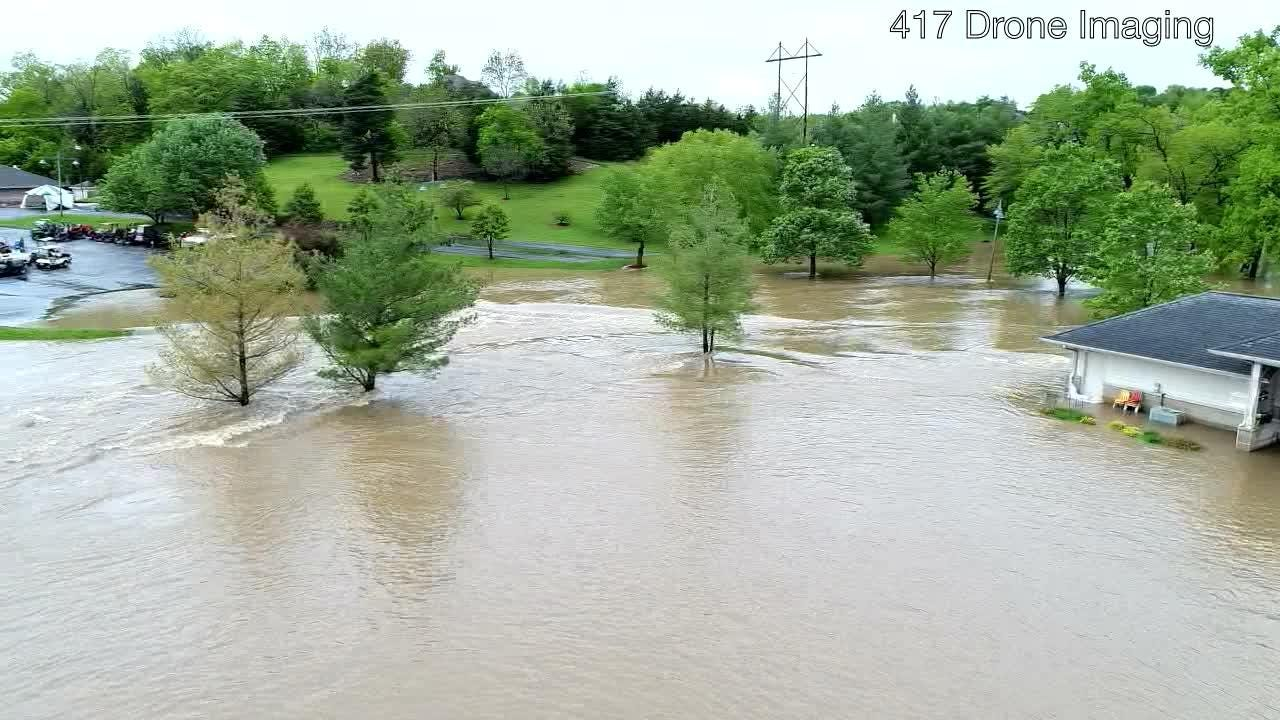 Drone video shows flooding at Rivercut Golf Course