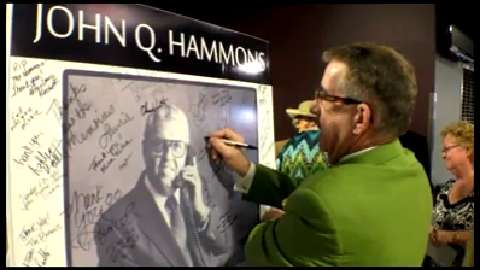 Friends of John Q. Hammons talk about him before a memorial service at JQH Arena.