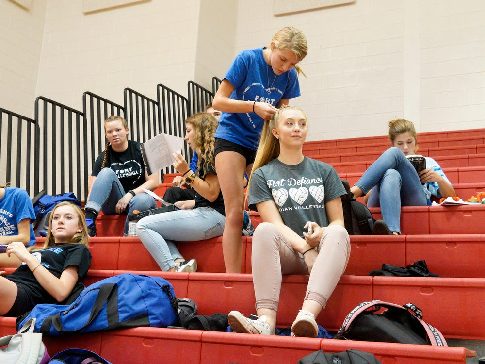 Volleyball player Madison Kimmel of Fort Defiance High School faces the everyday challenge of balancing academics, sports and time for herself.