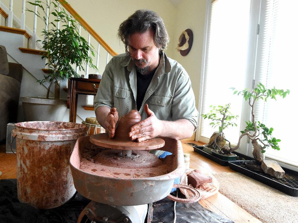 Jarod Kearney of Swoope, Va., would grow up to become an archaeologist and travel to far off places in search of discovery, but also is a man who can grow and shape bonsai trees while crafting pots to put them in.