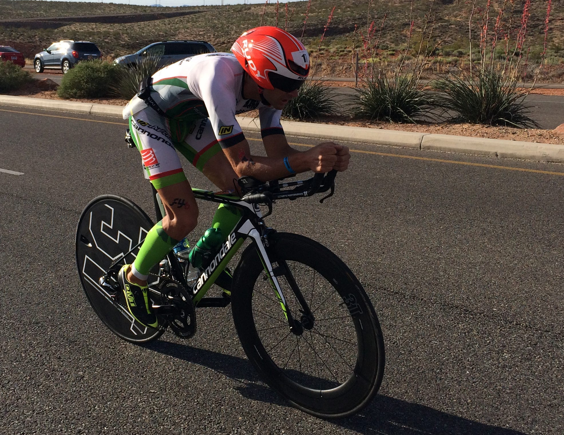 Great Britain's Tim Don took the overall St. George Ironman 70.3 North American Pro Championship title on Saturday, May 2, 2015, with Brent McMahon taking second. Heather Wurtele won the women's race with Meredith Kessler close behind.