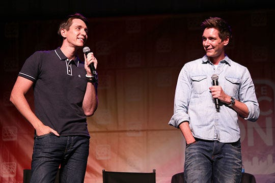 """Oliver and James Phelps, the well-known twins who played George and Fred Weasley in the """"Harry Potter"""" films, answered fans' questions at Salt Lake Comic Con, Thursday, Sept. 24, 2015."""