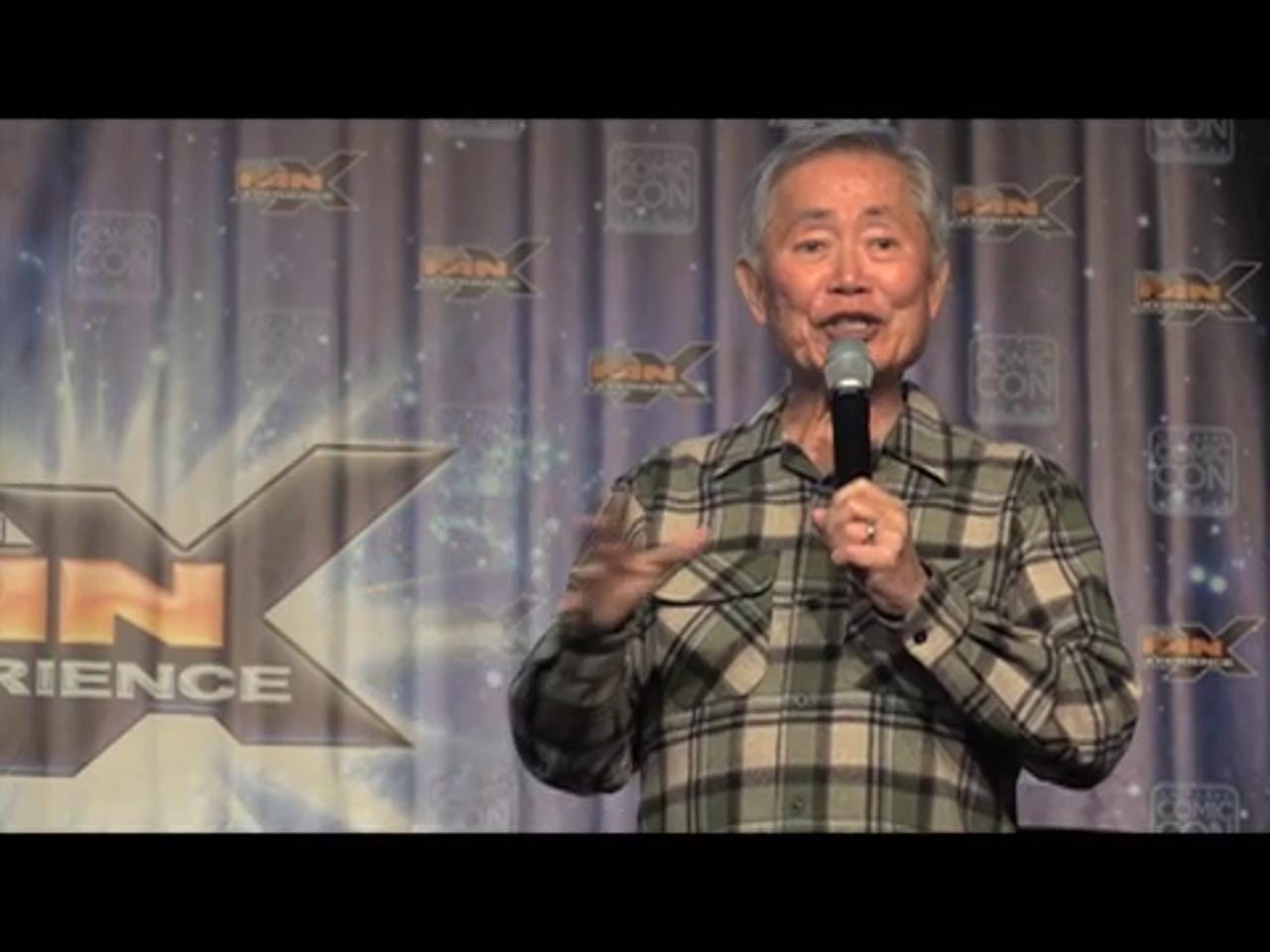"""""""Star Trek"""" actor George Takei, known as Mr. Sulu, speaks to hundreds of fans at the Salt Palace Convention Center Friday, March 25, 2016, during the 3rd annual Salt Lake Comic Con Fan Xperience."""