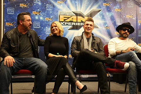 """NSYNC's Joey Fatone, actress Carrie Keagan and Backstreet Boys Nick Carter and A.J. McLean talk about the release of """"Dead 7,"""" a zombie western film featuring singers from several 90's boy bands, including O-Town and 98 degrees."""