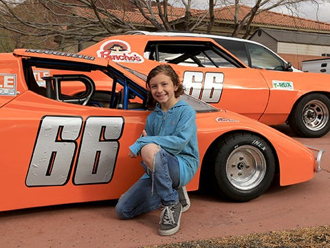 Tuscan Nuccitelli, an 8-year-old from Ivins City, had his first practice run March 12 in his bandolero car, which can reach speeds of up to about 80 miles per hour, at the Las Vegas Motor Speedway. His father Nick Nuccitelli races stock cars there.