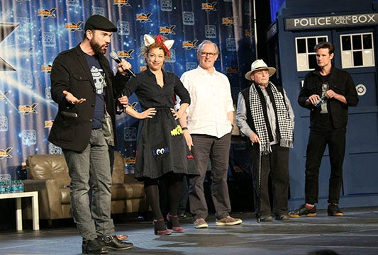 """""""Doctor Who"""" actors Sylvester McCoy, the 7th Doctor; Peter Davison, the 5th Doctor; Alex Kingston, River Song; and Matt Smith, the 11th Doctor, talk about their experiences on the show and answer fans' questions at the 2016 Salt Lake Comic Con FanX."""