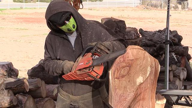 Chainsaw carver creates creatures from wood