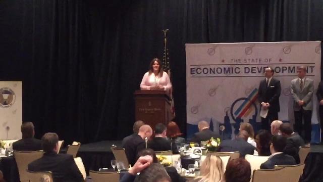 Rachel Dahl of Mesquite Regional Business addresses the crowd at the LVGEA's State of Economic Development breakfast.