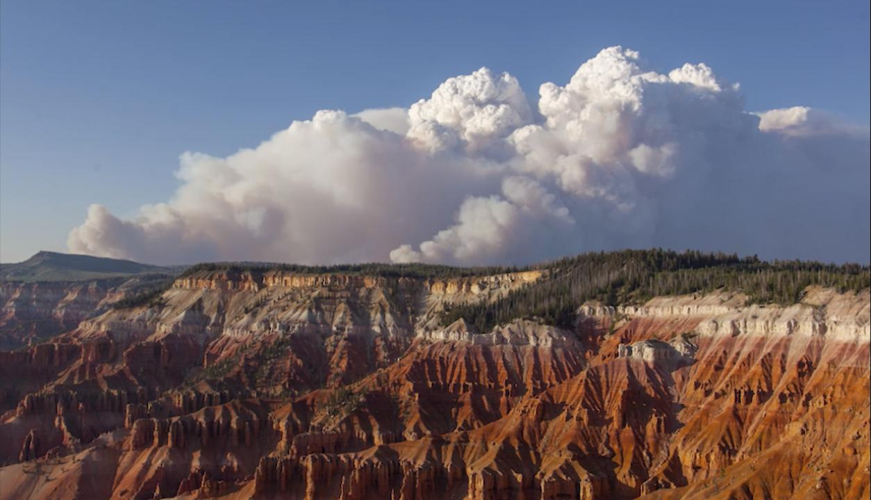 A view of the Brian Head fire Wednesday evening from Cedar Breaks National Monument, June 21, 2017.