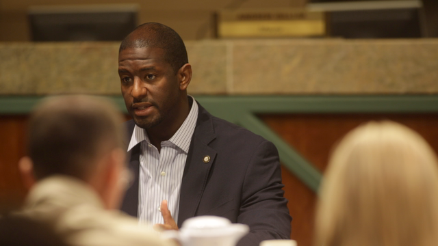 Gillum speaks on storm recovery