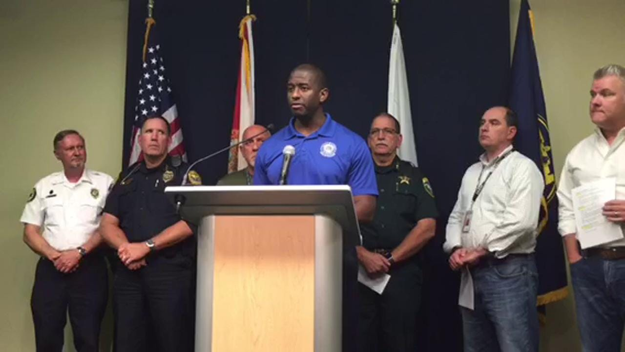 Mayor Andrew Gillum addresses power outages caused by Hurricane Hermine