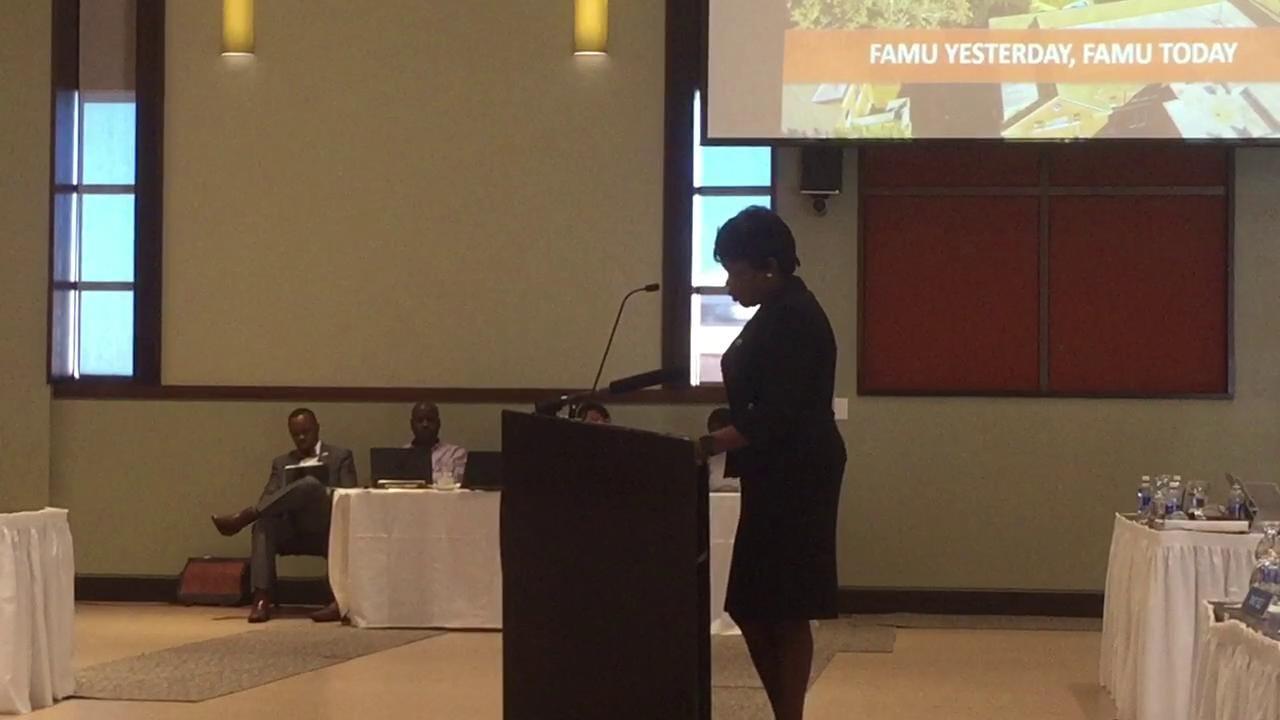 FAMU President Elmira Mangum addresses the school's board of trustees.