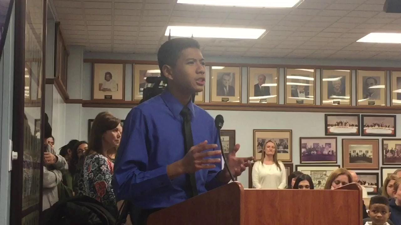 Vineland BOE honors VHS Poetry Out Loud champion Francis Virtucio, who recited a poem at the Feb. 1 work session.
