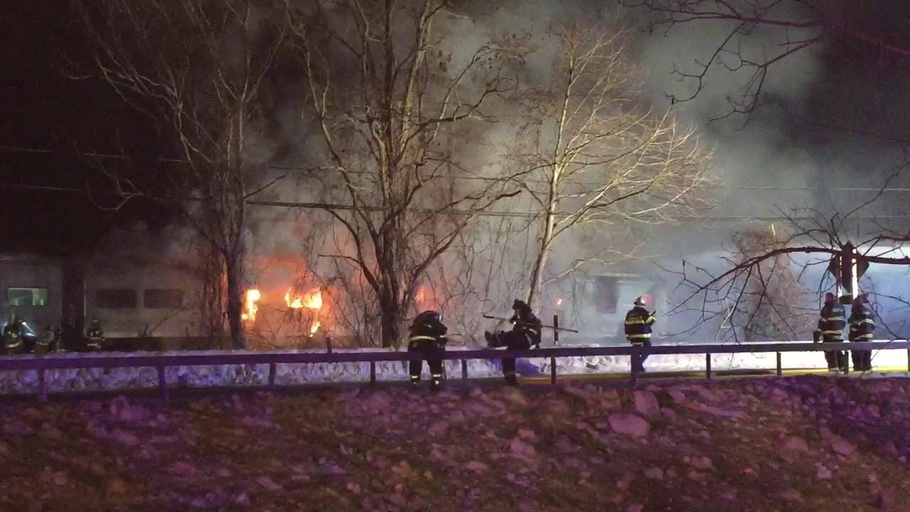 Video: Flames seen from fatal Metro-North crash in Valhalla