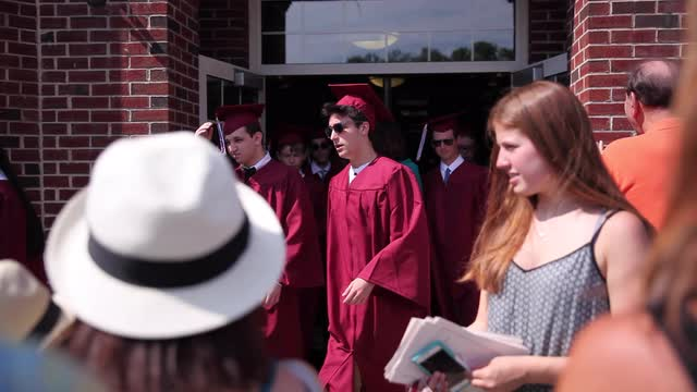Scarsdale High School students celebrate their commencement at the school June 24, 2016.