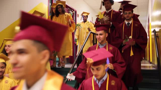 Palisades Preparatory School graduates celebrate their commencement at the school in Yonkers, June 24, 2016.