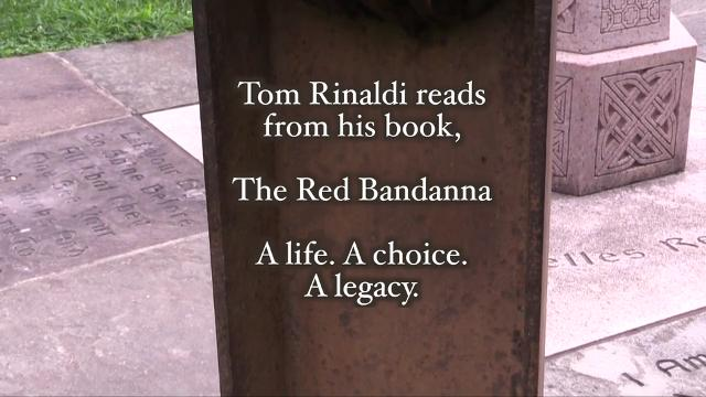 Author Tom Rinaldi reads a passage from his book, The Red Bandanna, about Welles Remy Crowther, at Grace Church in Nyack. Crowther died on Sept. 11, after rescuing people in the Word Trade Center.